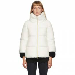 Herno White Down Woolfur Crop Sleeve Jacket PI067DR 12255