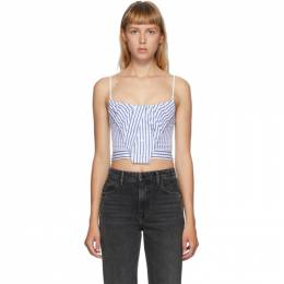 Alexander Wang Blue and White Stripe Tucked Bustier Tank Top 1WC2201367
