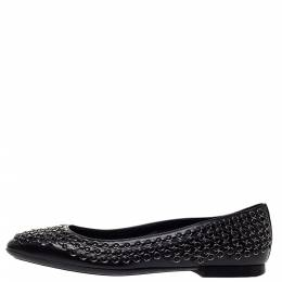 Tod's Black Leather Stitch Detail And Embellished Ballet Flats Size 37.5 Tod's 302971