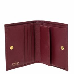 Prada Red Saffiano Lux Leather Compact Wallet 302929