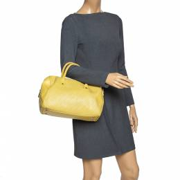 Furla Yellow Perforated Leather Bowler Bag 302919