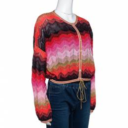 M Missoni Multicolour Lurex Zig Zag Knit Cropped Cardigan M 303245