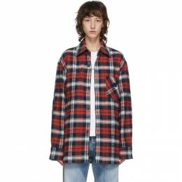 Acne Studios Red and Blue Flannel Patch Shirt CB0017-