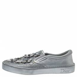 Dior Silver Leather And Glitter Daisy Flower Embellished Slip On Sneakers Size 37.5 306245