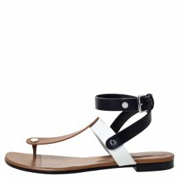 Hermes Tricolor Leather Ankle Wrap Flat Sandals Size 36 303469