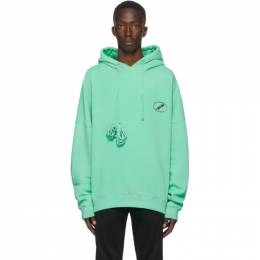 We11Done Green Iridescent Logo Hoodie WD-TH8-20-097-U-GR