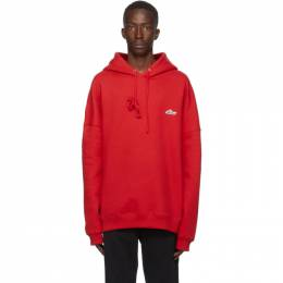 We11Done Red Embroidered Logo Hoodie WD-TP3-20-707-U-RD