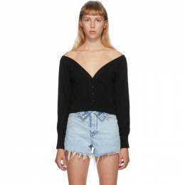 Alexander Wang Black Fitted Cropped Cardigan 1KC2191128