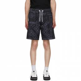 Palm Angels Black Bandana Mesh Shorts PMCB023E20FAB0011010