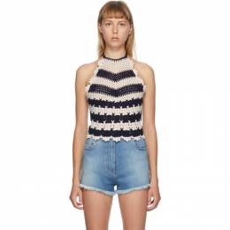 Gucci Off-White and Blue Crochet Halter Tank Top 622209 XKBCU