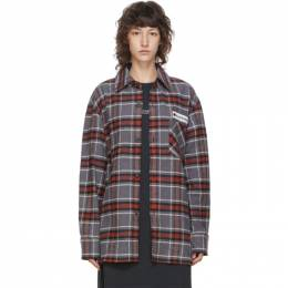 Acne Studios Grey and Red Flannel Logo Patch Shirt CB0023-