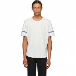Saint Laurent Off-White and Blue Destroyed T-Shirt 624992YBUW2