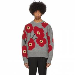 Ami Alexandre Mattiussi Grey and Red Jacquard Flowers Sweater A20HK030.015