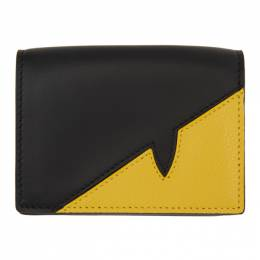 Fendi Black and Yellow Corner Bugs Wallet 7M0280 A9ZA