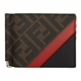 Fendi Black and Red Forever Fendi Bifold Wallet 7M0281 A9XS