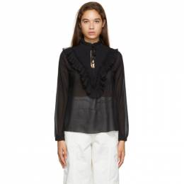 See by Chloe Black Georgette Frill Blouse CHS20AHT12033