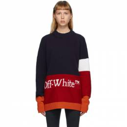 Off-White Navy and Red Color Block Sweater OMHE048E20KNI0014525