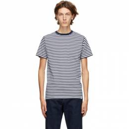 Norse Projects Navy and White Striped Niels T-Shirt N01-0372