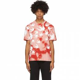 McQ Alexander McQueen Pink and Red Tie-Dye Swallows T-Shirt 291571RPR11