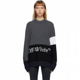 Off-White Grey Color Block Sweater OMHE048E20KNI0010701