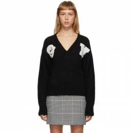 Off-White Black Intarsia Logo Sweater OWHD014E20KNI0011001