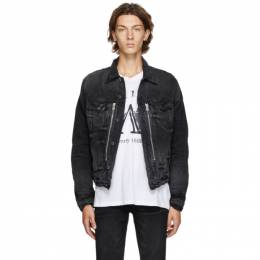 Amiri Black Denim Bandana MX2 Trucker Jacket F0M04178RD
