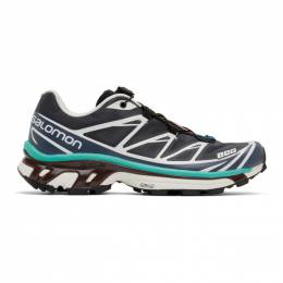 Salomon Grey and Green XT-6 Advanced Sneakers 412637