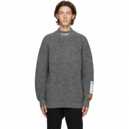 Heron Preston Grey Wool Chunky Knit Style Turtleneck HMHF001F20KNI0010900
