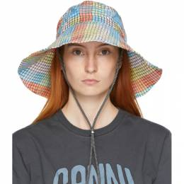 Ganni Multicolor Seersucker Check Hat A2940