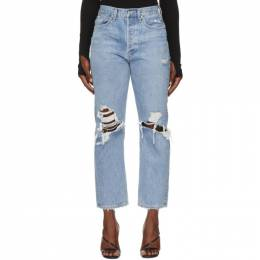 Agolde Blue Ripped 90s Mid Rise Loose Fit Jeans A069C-811
