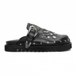 Black Leather Studded Clogs Toga Virilis FTVRM106609009