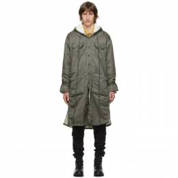 Greg Lauren Green Washed Satin Long Hooded Coat AM140