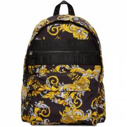 Versace Jeans Couture Black and Gold Barocco Logo Backpack EE1YZAB60 E71594