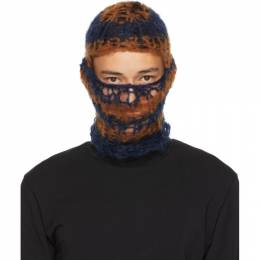 Raf Simons Navy and Tan Hand-Knit Balaclava 202-850A