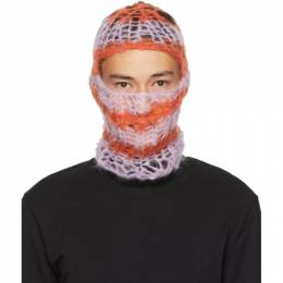Raf Simons Pink and Orange Hand-Knit Balaclava 202-850A