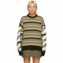 Off-White Yellow Fair Isle Agreement Sweater OMHE058F20KNI0011801