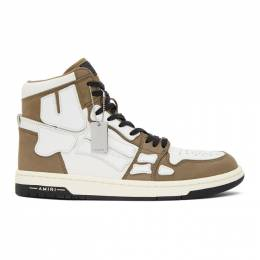 Amiri Brown and White Skeleton High-Top Sneakers W0F22499NL