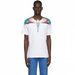 Marcelo Burlon County Of Milan White and Burgundy Wings T-Shirt CMAA018F20JER0010128