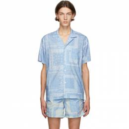 Blue Bandana Camp Shirt Bather GEOMETRIC BANDANA PAT