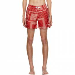 Red Bandana Swim Trunks Bather GEOMETRIC BANDANA PAT