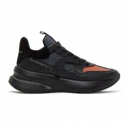 Alexander McQueen Black and Orange Panelled High Sneakers 627196WHXIL