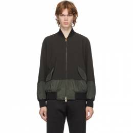Paul Smith Grey and Green Wool Bomber Jacket M1R-048U-E01002