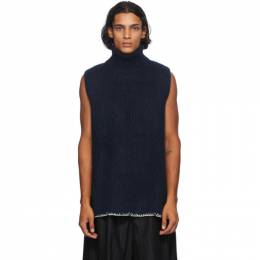 Maison Margiela Blue Wool Rib Knit Turtleneck S30GP0321 S17443