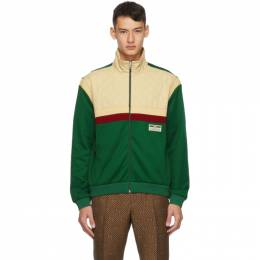 Gucci Beige and Green Jersey Track Jacket 625287 XJCNI