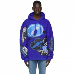 We11Done Blue Stacked Logo Hoodie WD-TH8-20-112-U-BL