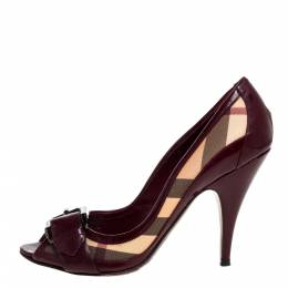 Burberry Burgundy/Beige House Check Canvas and Patent Leather Buckle Peep Toe Pumps Size 39 321631