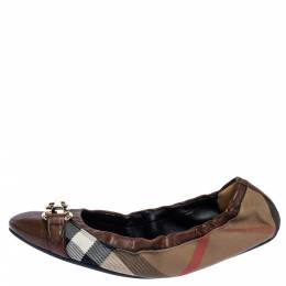 Burberry Brown House Check Canvas and Leather Shipley Ballet Flats Size 38 320433
