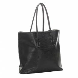 Prada Black Perforated Leather Tote Bag 319125