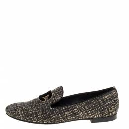 Chanel Shimmery Black Fabric CC Smoking Slippers Size 39.5 320290