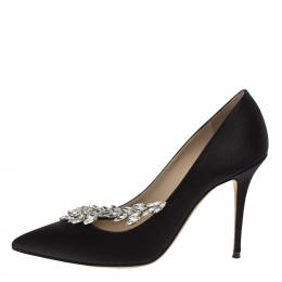 Manolo Blahnik Black Satin Nadira Crystal Embellished Pointed Toe Pumps Size 39.5 319005